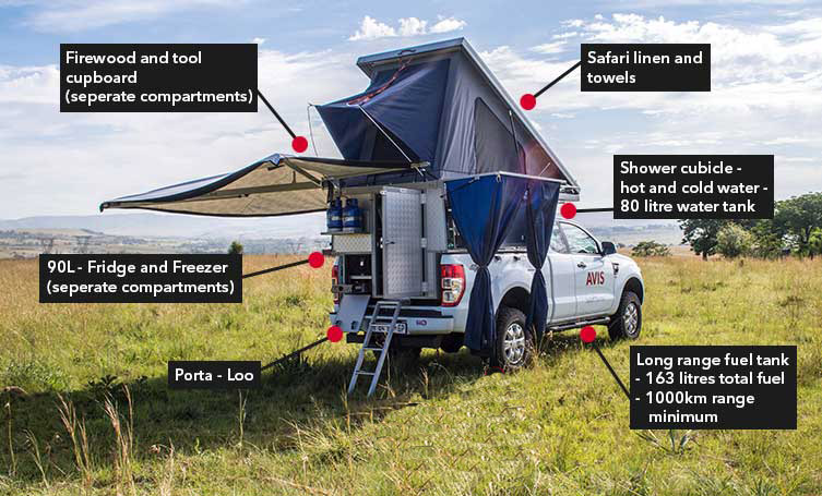 rent a ford ranger luxury safari camper 4x4 safari rentals and tours overland360. Black Bedroom Furniture Sets. Home Design Ideas